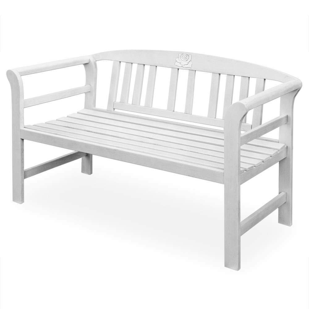banc de jardin blanc en bois massif 130x82cm pour bancs de jardin a. Black Bedroom Furniture Sets. Home Design Ideas