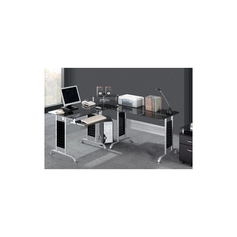 bureau informatique en verre noir pour mobilier a 380 75. Black Bedroom Furniture Sets. Home Design Ideas