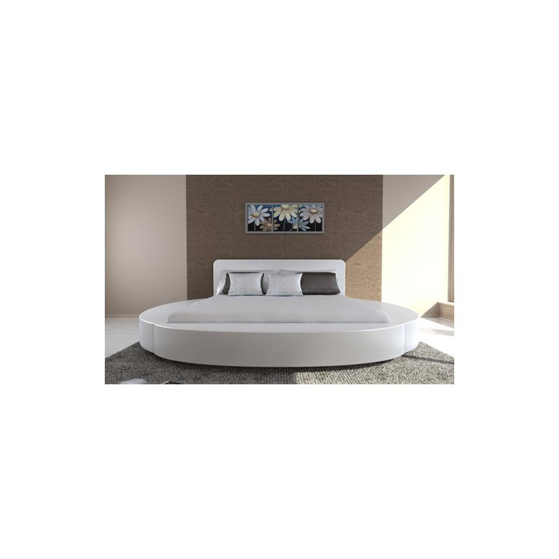 lit rond blanc en simili cuir 180 x 200 cm pour lits a 469 51. Black Bedroom Furniture Sets. Home Design Ideas
