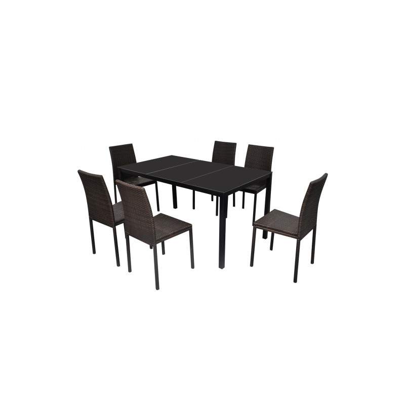 Ensemble de 6 chaises marrons et table manger en for Ensemble table a manger
