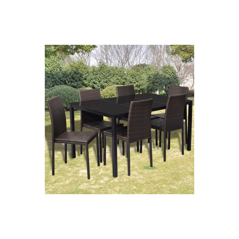 ensemble de 6 chaises marrons et table manger en. Black Bedroom Furniture Sets. Home Design Ideas