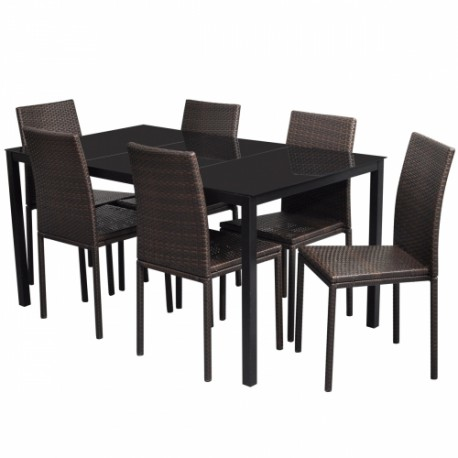 ensemble de 6 chaises marrons et table manger en polyrotin pour. Black Bedroom Furniture Sets. Home Design Ideas