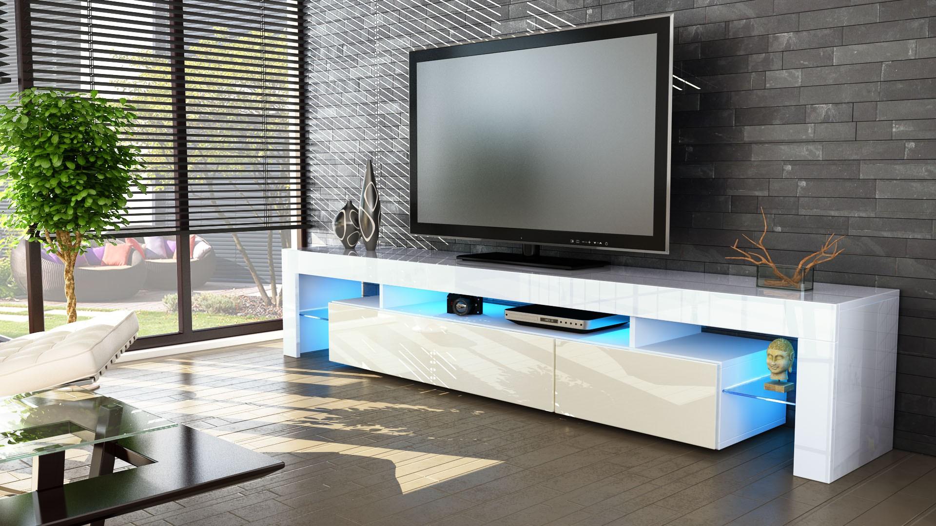 Meuble Tv Blanc Et Cr Me 189 Cm Avec Led Pour Meubles Tv Design A 4  # Table Basse Pour Televiseur