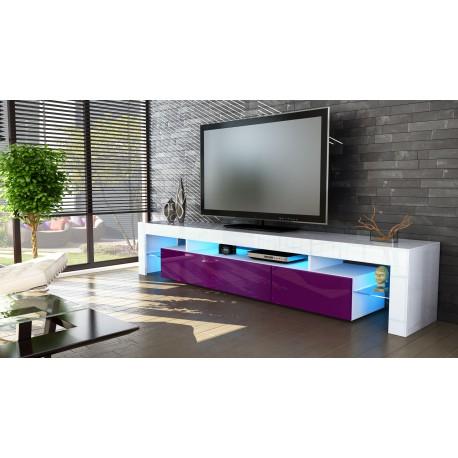 Meuble tv blanc  et  mûre  199 cm avec led