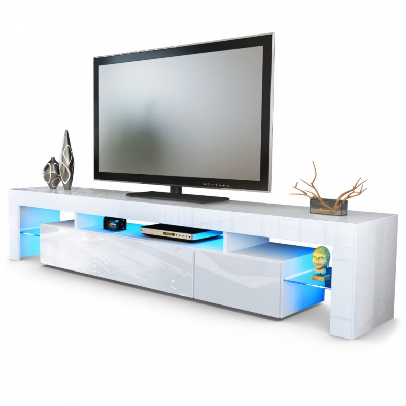 Meuble tv blanc 189 cm sans led pour meubles tv design a for Meuble tv tres long