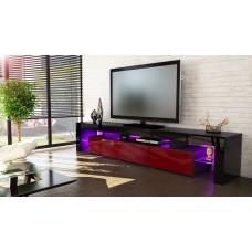 Meuble tv noir et bordeaux 199 cm avec led