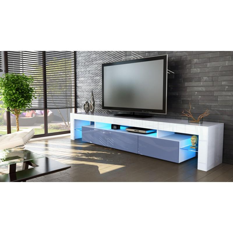 Meuble Tv Qui Rentre : Meuble Tv Blanc Et Gris 189 Cm Sans Led Pour Meubles Tv A 399,70 €