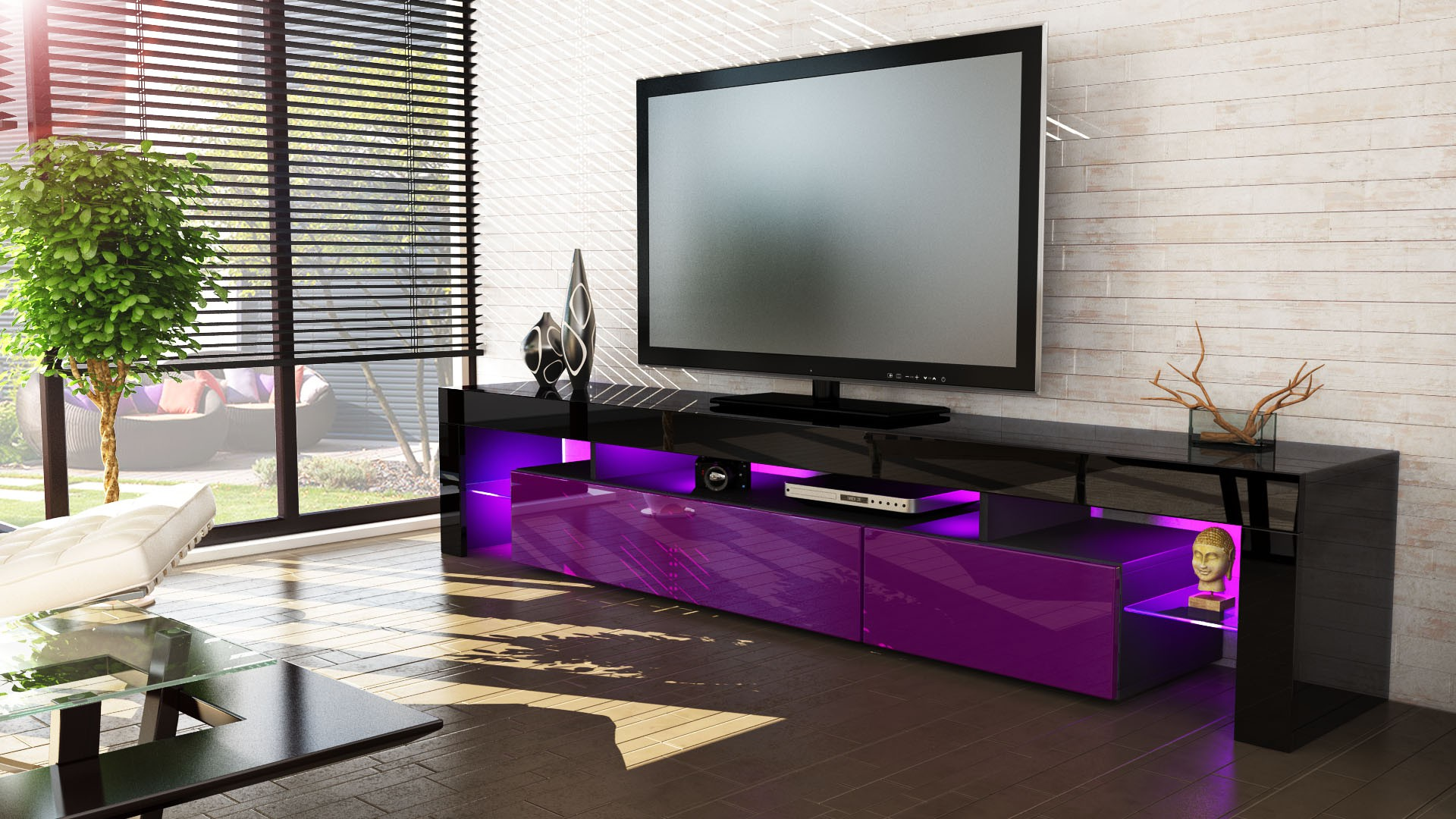 meuble tv noir et violet 189 cm avec led pour meubles tv design a 4. Black Bedroom Furniture Sets. Home Design Ideas
