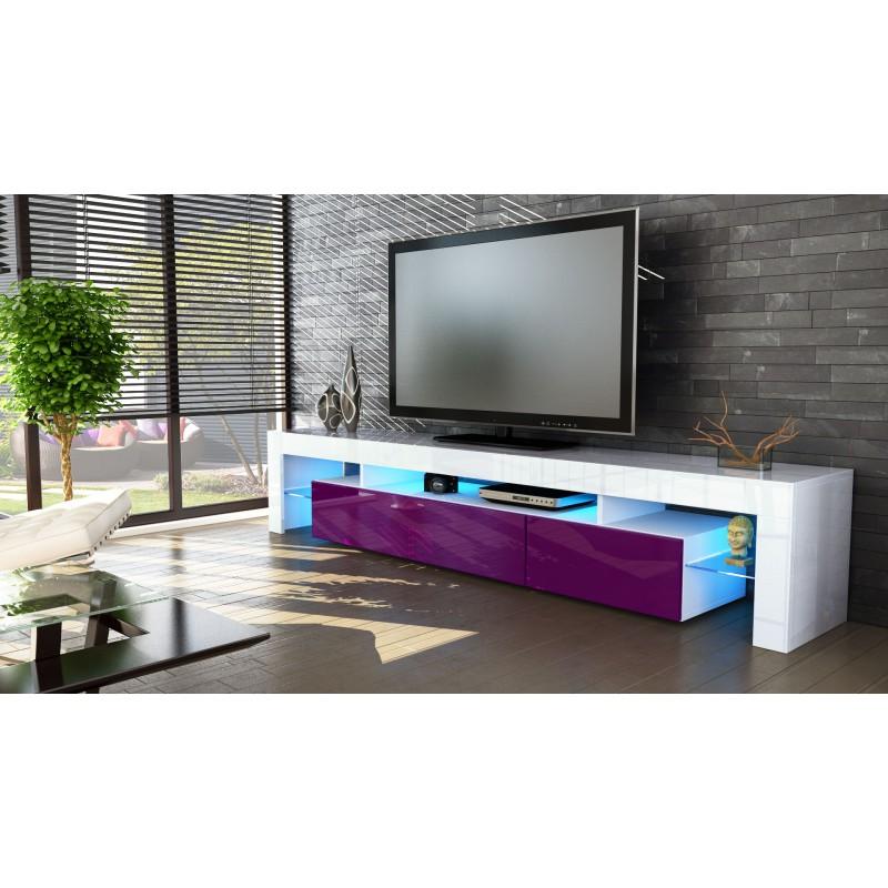 Meuble tv blanc et m re 189 cm sans led pour meubles tv for Meuble bureau qui se referme