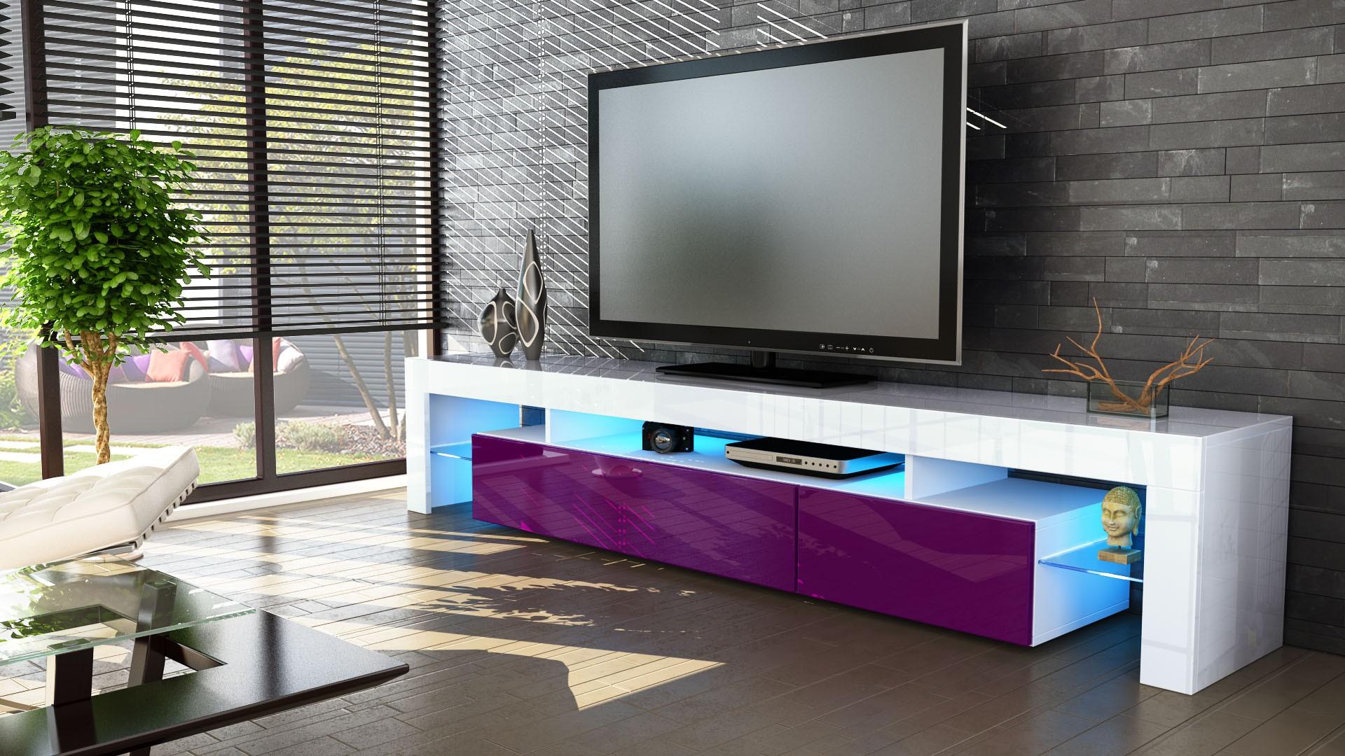 Meuble Tv Blanc Et M Re 189 Cm Sans Led Pour Meubles Tv Design A 3  # Armoire Basse Tele