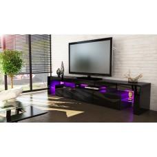 Meuble tv noir 199 cm avec led