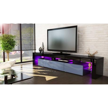 meuble tv noir et gris189 cm sans led pour meubles tv design a 341. Black Bedroom Furniture Sets. Home Design Ideas