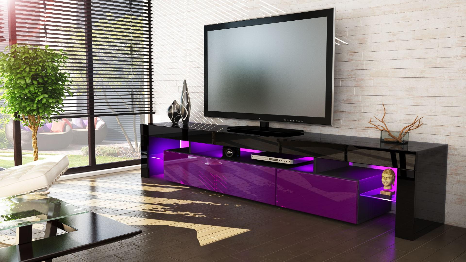 Meuble Tv Noir Et Violet 189 Cm Sans Led Pour Meubles Tv Design A 3  # Meuble Tv Avec Led Pas Cher