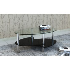 Table Table de salon / Table basse ovale noir en verre