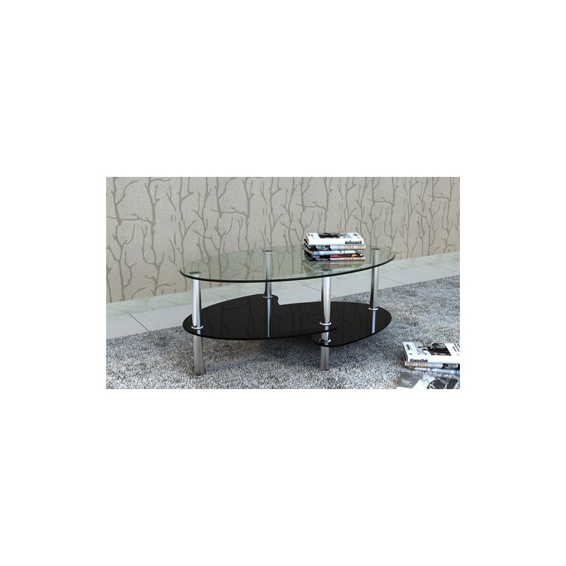 Table basse ovale en verre noir - Table salon verre trempe ...