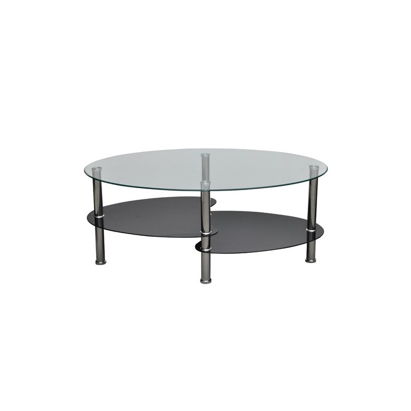 Table table de salon table basse ovale noir en verre - Table salon verre trempe ...