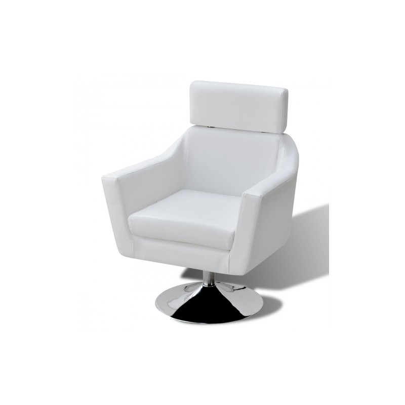fauteuil de relaxation avec repose pieds en simili cuir blanc r gla. Black Bedroom Furniture Sets. Home Design Ideas