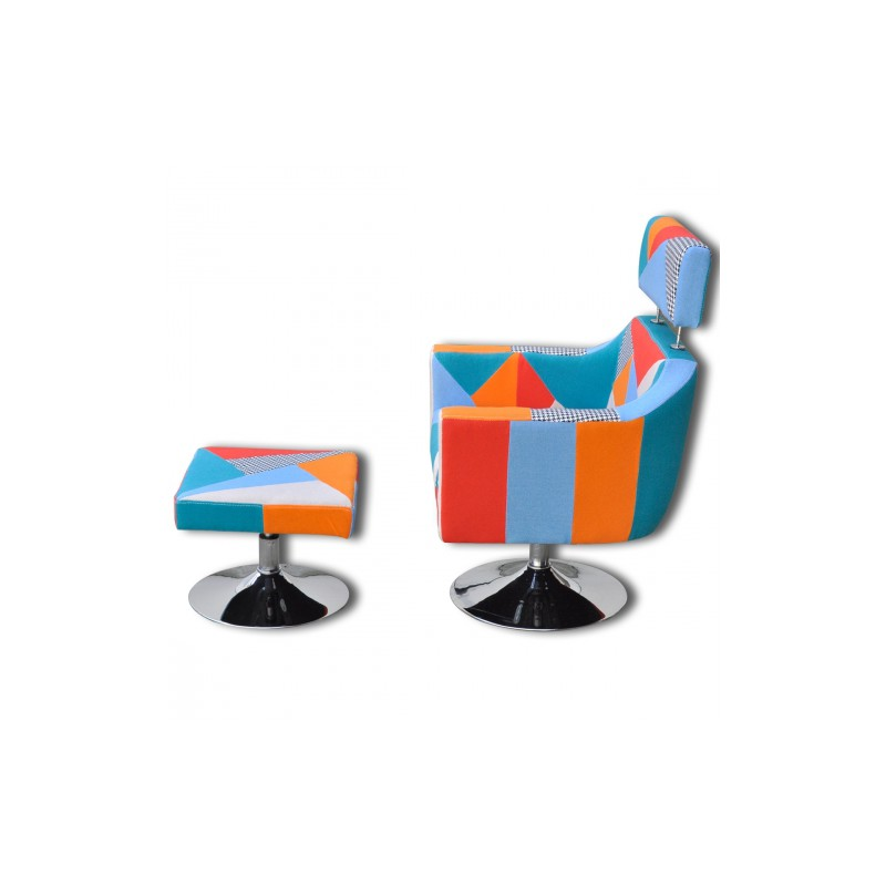 fauteuil tv tissu patchwork r glable avec repose pieds. Black Bedroom Furniture Sets. Home Design Ideas