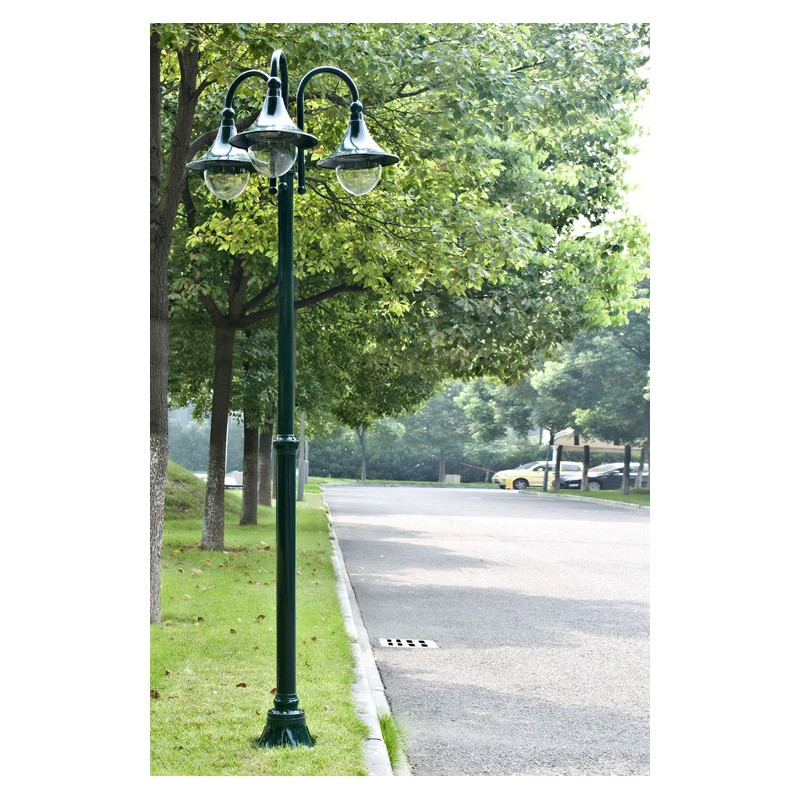 lampadaire de jardin 3 lampes vert 220 cm pour lampadaires a 176 62. Black Bedroom Furniture Sets. Home Design Ideas