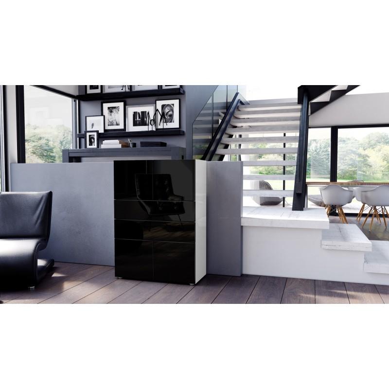 Commode armoire design blanche et noire 4 portes 2 tiroirs pour me - Commode noire et blanche ...