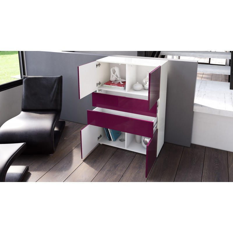 commode armoire design blanche et grise 4 portes 2 tiroirs pas cher meubles discount en ligne. Black Bedroom Furniture Sets. Home Design Ideas