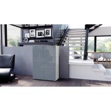 Commode armoire design blanche et  grise  4 portes 2 tiroirs