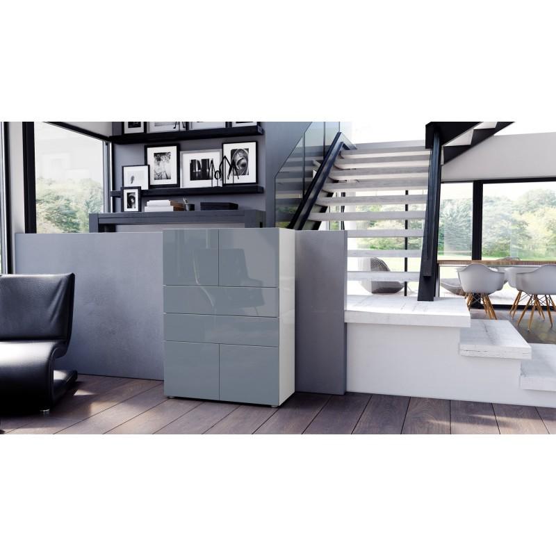 commode armoire design blanche et grise 4 portes 2 tiroirs. Black Bedroom Furniture Sets. Home Design Ideas