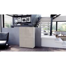 Commode armoire design blanche et grise sablée  4 portes 2 tiroirs