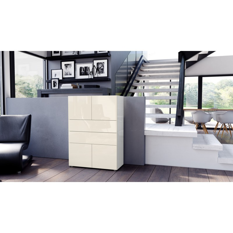 commode armoire design blanche et cr me 4 portes 2 tiroirs pour me. Black Bedroom Furniture Sets. Home Design Ideas