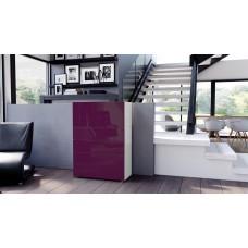 Commode armoire design blanche et  mûre  4 portes 2 tiroirs