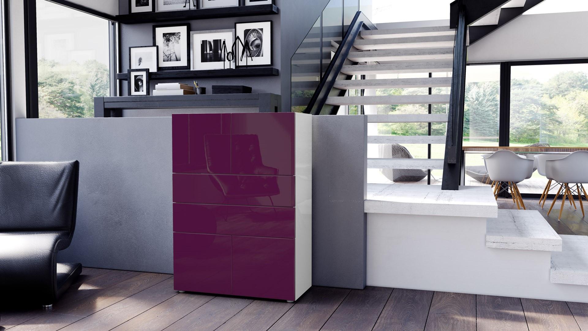 Commode armoire design blanche et mûre 4 portes 2 tiroirs pour meu...