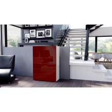 Commode armoire design blanche et  bordeaux 4 portes 2 tiroirs