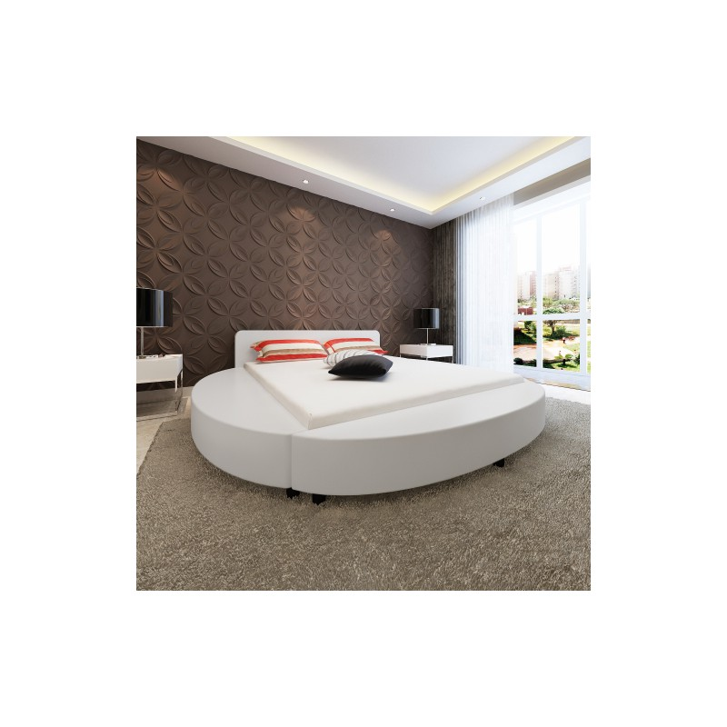 lit rond design en simili cuir 180 x 200 cm couleur blanc. Black Bedroom Furniture Sets. Home Design Ideas