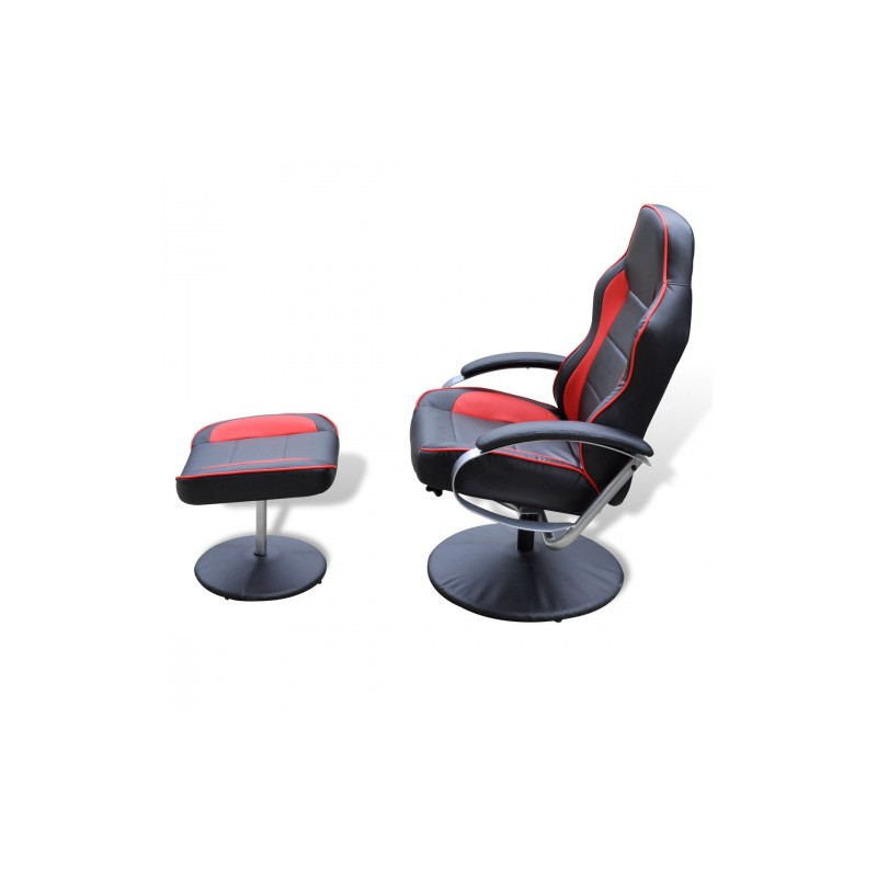 fauteuil de relaxation avec repose pieds noir et rouge. Black Bedroom Furniture Sets. Home Design Ideas