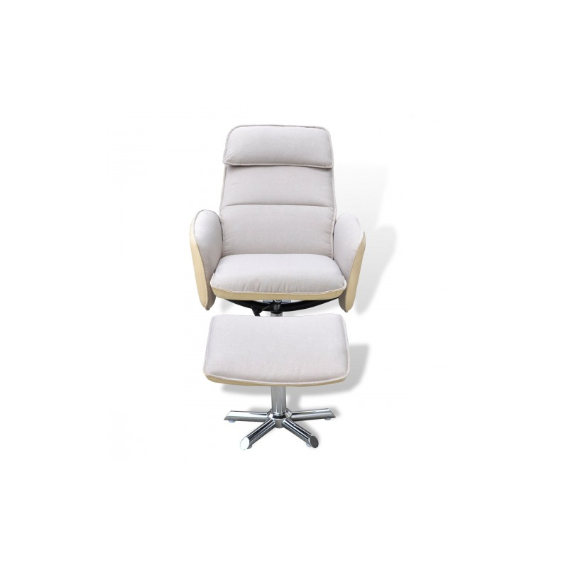 fauteuil de relaxation avec repose pieds blanc cr me pour. Black Bedroom Furniture Sets. Home Design Ideas