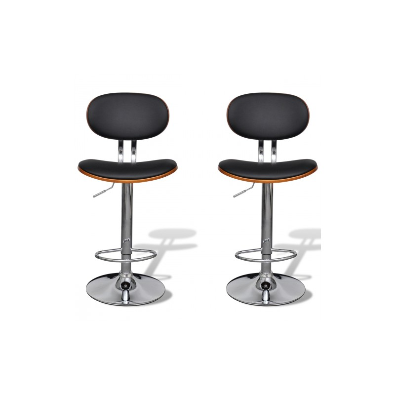 lot de 2 tabourets de bar en simili cuir r glables avec dossier. Black Bedroom Furniture Sets. Home Design Ideas