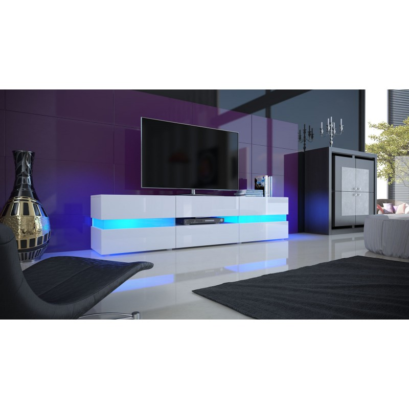 Meuble tv blanc laqu avec led pour meubles tv design a for Photo meuble tv design
