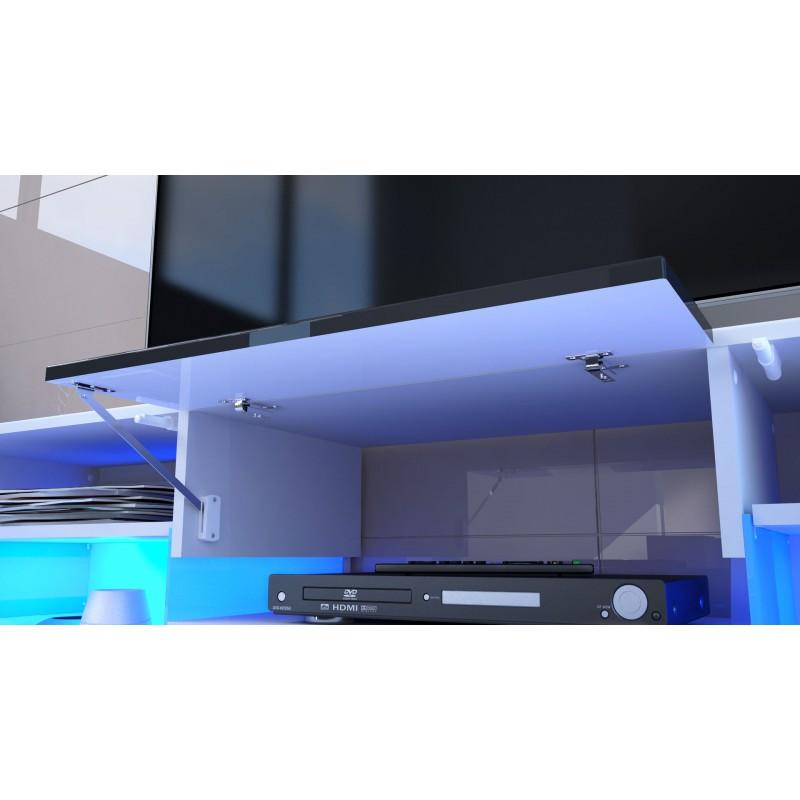 Meuble design enti rement laqu noir avec led pour meubles - Eclairage led pour meuble tv ...