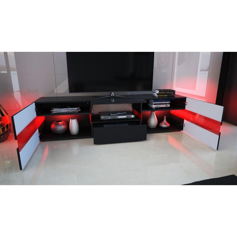 meuble design enti rement laqu noir avec led pour meubles tv desig. Black Bedroom Furniture Sets. Home Design Ideas