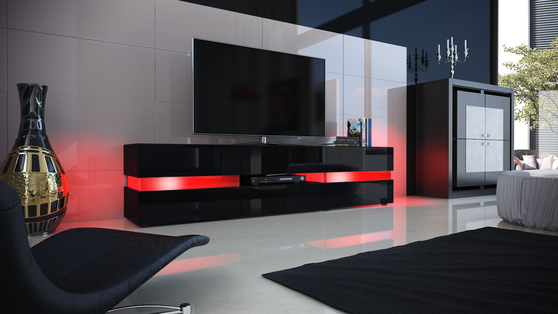 meuble design enti rement laqu noir avec led pour meubles tv desig. Black Bedroom Furniture Sets. Home Design Ideas