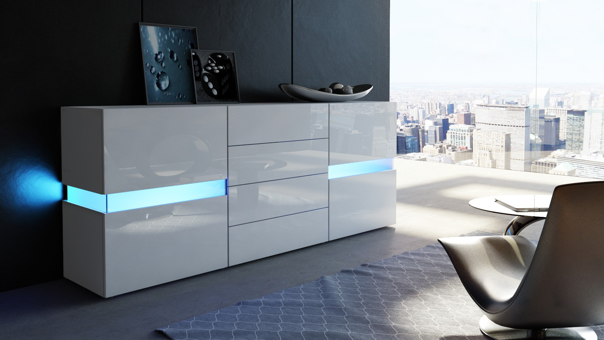 buffet avec led blanc laqu 177 cm pour buffets design a. Black Bedroom Furniture Sets. Home Design Ideas
