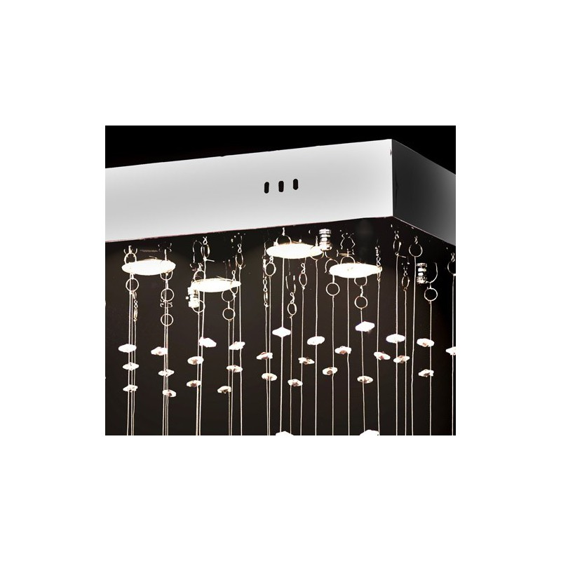 lustre plafonnier design carr 100 cristaux pour. Black Bedroom Furniture Sets. Home Design Ideas