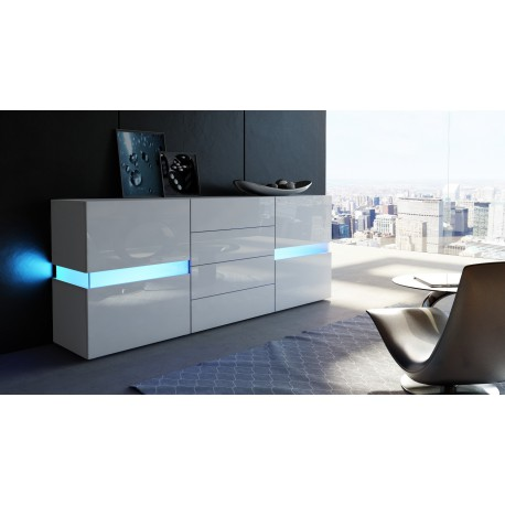 Buffet design blanc mat fa ades laqu es sans led 177 cm for But meuble buffet