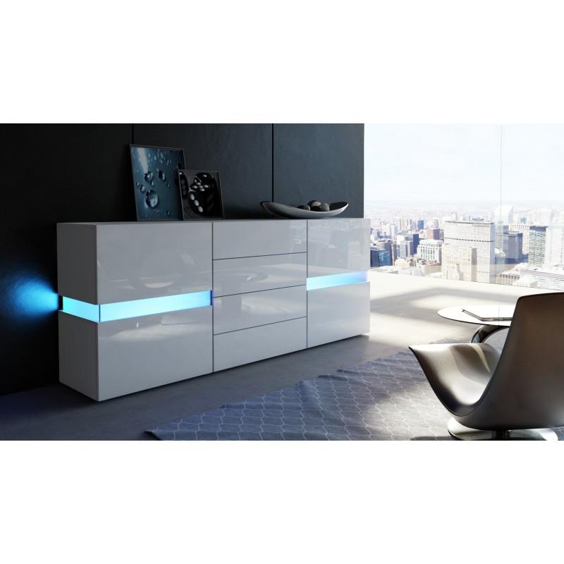 buffet design blanc mat fa ades laqu es sans led 177 cm. Black Bedroom Furniture Sets. Home Design Ideas