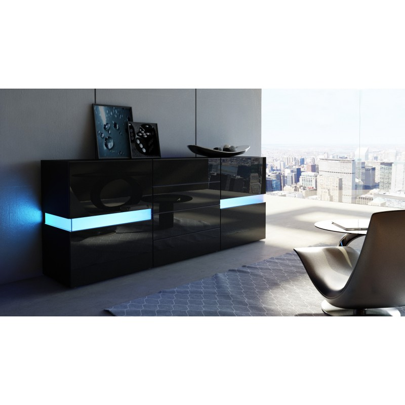 buffet design noir enti rement laqu avec led 177 cm pour. Black Bedroom Furniture Sets. Home Design Ideas