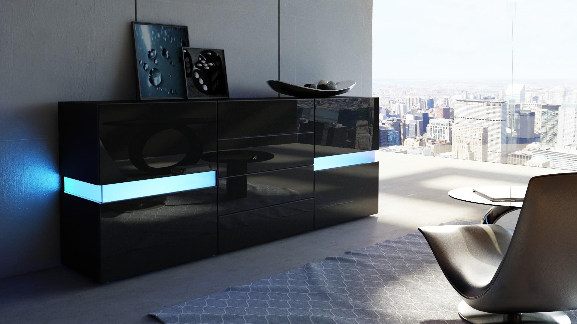 Chambre avec meuble noir for Meuble de chambre noir