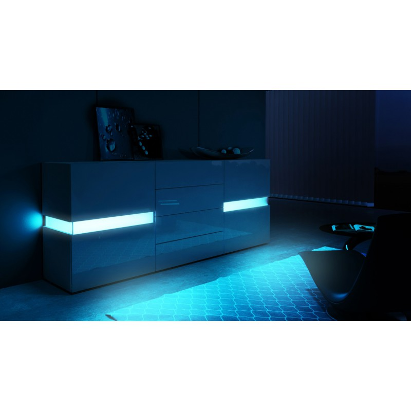 buffet design noir enti rement laqu avec led 177 cm pour buffets d. Black Bedroom Furniture Sets. Home Design Ideas