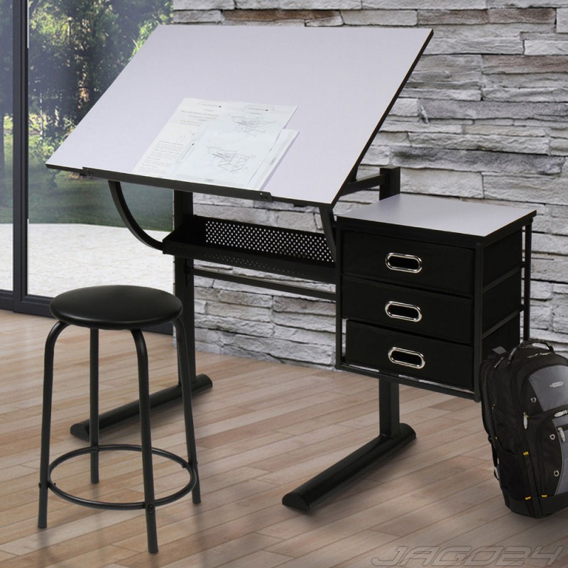 bureau table dessin avec tabouret pour mobilier a 212 12. Black Bedroom Furniture Sets. Home Design Ideas