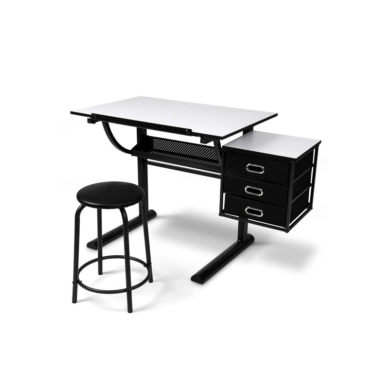 Bureau table dessin avec tabouret pour mobilier a 212 12 for Table a dessin