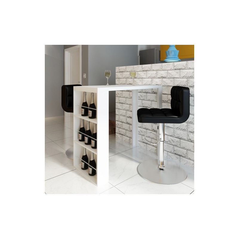 table de bar blanche verniss e avec 3 tag res de rangement pour ta. Black Bedroom Furniture Sets. Home Design Ideas